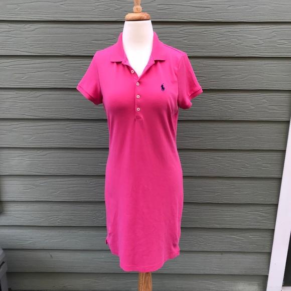 Womens Polo Ralph Lauren Pink Shirt Dress Size M